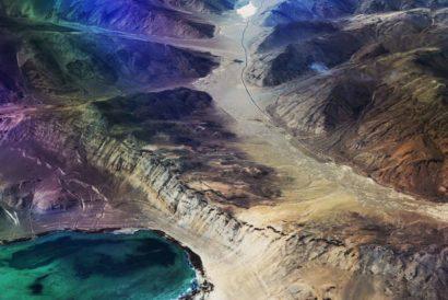 Flight view of world highest salt water lake