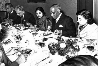 An undated photograph of ACN Nambiar (Second from right) having dinner with Indira Gandhi at the Indian Consulate, Geneva (Photo courtesy: Harilal Rajgopal)