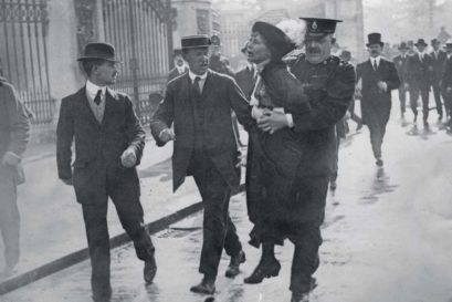 English suffragette Emmeline Pankhurst arrested in London, 1914