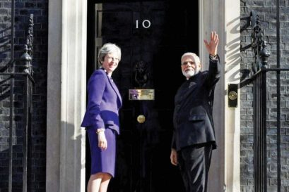 Modi with Theresa May at 10 Downing Street
