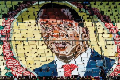 A portrait of Mugabe's successor Emmerson Mnangagwa at the National Sports Stadium in Harare