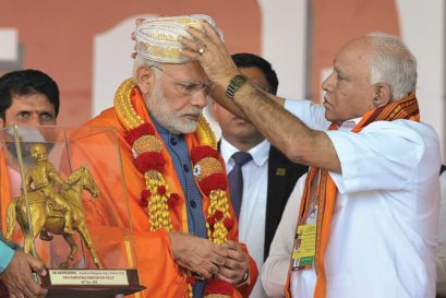 Prime Minister Narendra Modi with BJP leader BS Yeddyurappa at a 'Parivarthana Rally' in Bengaluru