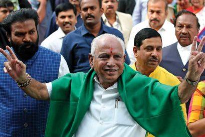 BS Yeddyurappa arrives at the Raj Bhavan in Bengaluru to be sworn in as Chief Minister