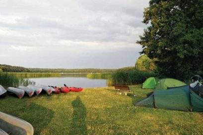 A campsite by the Roblinsee lake in Germany