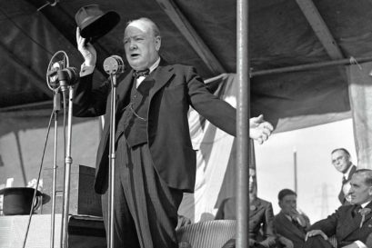 Churchill addresses supporters in 1945 at Walthamstow Stadium, London