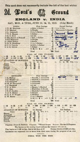 Scorecard from the Lord's Test