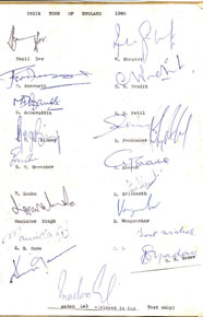 Signatures of players from India's Test squad to England in 1986