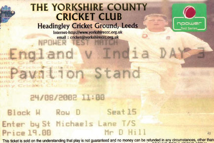 A ticket stub of the 2002 Test match at Headingley