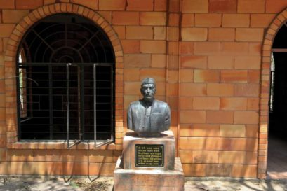 A bust of freedom fighter Beni Prasad Madhav at the former Prime Minister's Bhondsi ashram in Haryana