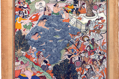 Akbar watches a battle between two rival groups of sannyasis at Thaneshwar, 1590