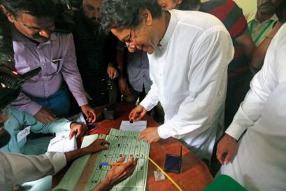 Imran Khan casts his vote in Islamabad, July 25
