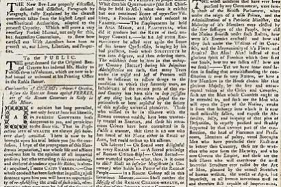 The front page of Hicky's Bengal Gazette, April 28th, 1781, courtesy the University of Heidelberg