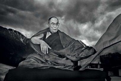The Dalai Lama in Dharamshala with the Dhauladhar Range