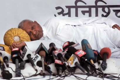 Anna Hazare's hunger strike at the capital's Ramlila Maidan, 2011
