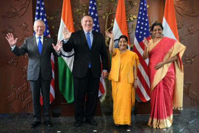(L to R) US Secretary of Defense Jim Mattis, US Secretary of State Mike Pompeo, Indian Foreign Minister Sushma Swaraj and Defense Minister Nirmala Sitharaman in New Delhi on September 6, 2018