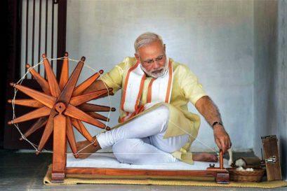 Prime Minister Narendra Modi at Sabarmati Ashram in Ahmedabad, 2017