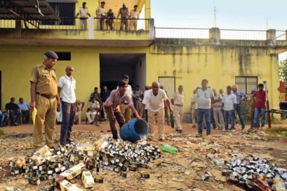 Seized alcohol bottles at an excise department warehouse in Kaimur