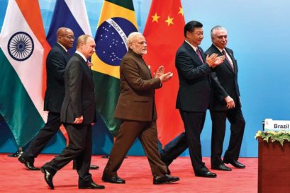 Prime Minister Narendra Modi with (L-R) South African President Jacob Zuma, Russian President Vladimir Putin, Chinese President Xi Jinping and Brazilian President Michel Temer at the annual BRICS Summit in Xiamen, China, 2017