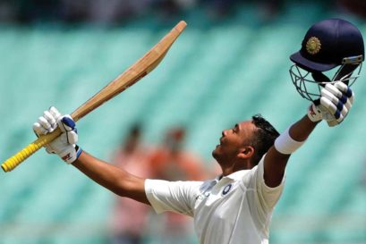 Prithvi Shaw scored 134 runs off 154 balls against the West Indies at Rajkot