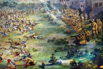 A depiction of the Jallianwala Bagh massacre