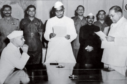 BR Ambedkar (Extreme right) with Jawaharlal Nehru (Extreme left) and Dr Rajendra Prasad (in the middle)