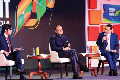 Arun Jaitley in conversation with Sanjiv Goenka at the Republic Summit in Mumbai