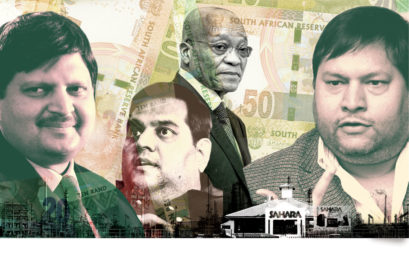 (L-R) Atul Gupta; Rajesh Gupta; former President of South Africa Jacob Zuma and Ajay Gupta