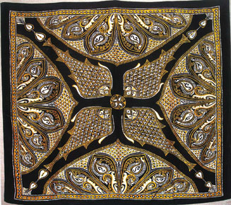 Batik scarf using fish motif Alpana (Gouri Devi) (Courtesy: Design Movement in Tagore's Santiniketan: Alpana-An experiment in aestheticism)