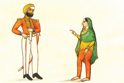 Sikh officer and a woman, Punjab (Courtesy: Indian life and people in the 19th century: Company paintings in the TAPI Collection)