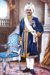Maharaja Jagatjit Singh of Kapurthala, in his signature blue velvet achkan (Courtesy: Prince and Patron and Patriarch: Maharaja Jagatjit Singh of Kapurthala)