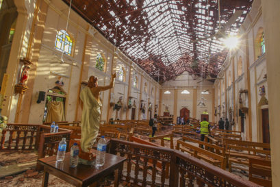 A view of St. Sebastian's Church damaged in blast in Negombo, north of Colombo, Sri Lanka on April 21, 2019