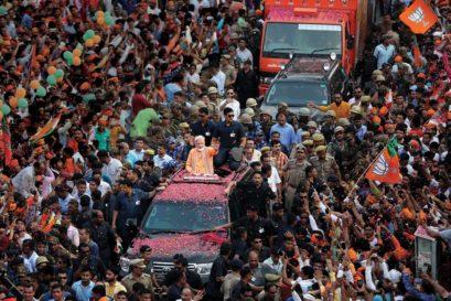 Modi at a roadshow in Varanasi