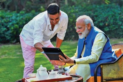 Modi with Akshay Kumar in a televised interview